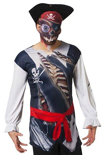 Wilbers Langarm Shirt Skelett Pirat mit Maske Hallowen Karneval Gr.XL
