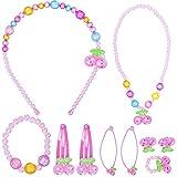 Larcenciel Parure de bijoux pour enfants avec collier, bracelet, bague, boucles d'oreilles, colliers pour enfant