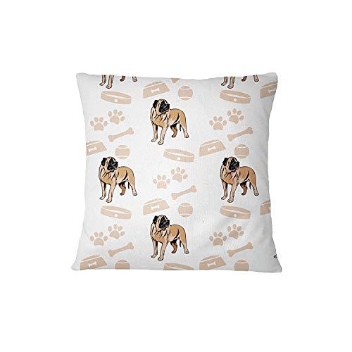 Deglogse Cushion Covers, Throw Pillow case, American Mastiff Dog Bone Bowl Collar Sofa Bed Home Decor Pillow Cover Pillow & Cover Set -
