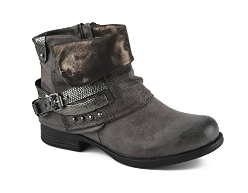 Damen Stiefeletten | Biker Boots Schnallen Nieten | Knöchelhohe Stiefel Leder-Optik |,39, Grau (Rock Klein-gefütterte Calvin)