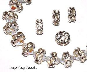 15 Varietà di cristallo di rocca, Diamonte Spacer Beads Rondelle 6 mm