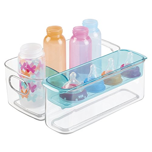 mDesign Baby Mealtime Adjustable Storage Organizer for Bottles, Sippy Cups, Bowls, Spoons - Clear/Aqua by MetroDecor