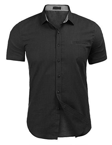 Herren Shirt Leinen Brusttasche Sommer Polo Shirt für männer schwarz xl