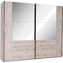 Marque Amazon -Movian - Armoire à portes coulissantes avec miroir Saale, 2portes, 250 x 217,6 x 66cm, Chêne Wellington Couleur