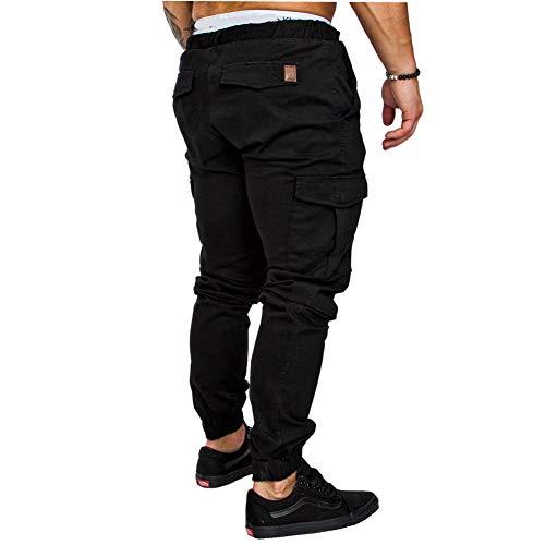 DOTBUY Herren Jogger Hose, Cargo Chino Freizeithose Sporthose Jogginghose Hosen Stretch mit Tasche (XL, Schwarz)
