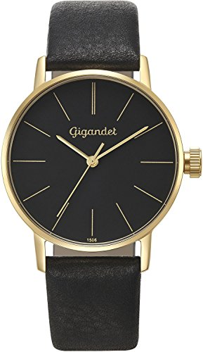 Gigandet Women's Quartz Wrist Watch Minimalism Analogue Leather Strap Gold Black G43-017