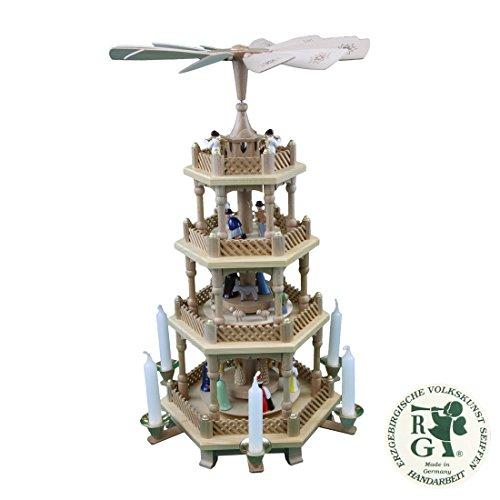 Glässer 16723 Pyramide Christi Geburt natur, 3-stöckige Weihnachtskrippe in Handarbeit gefertigt, Höhe: 54 cm