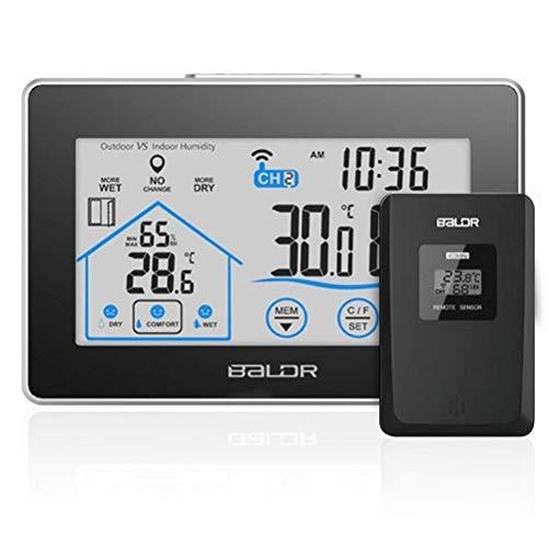 Stazione metereologica senza fili touch-screen con sensore a distanza per interno/ esterno, termometro igrometro digitale