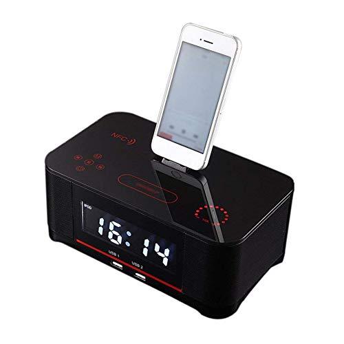 WXGY Digitale Radiowecker mit Dual-Alarm und FM-Bluetooth-4.0-Lautsprecher, Akku-Backup, Schlummer- und Sleep-Timer, großes Display, NFC-Kompatibilität, Dock für iPhone/Ipad/Ipod - Lautsprecher Mit Ipod Dock Nano