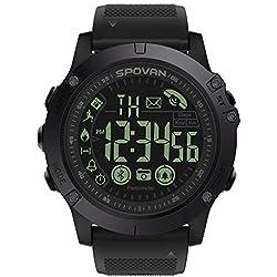 Montre Connectée, Smartwatch Bracelet Connecté Podomètre Etanche Ip67 Écran pour Femme Homme Enfant Smart Watch Cardiofréquencemètre Montre Intelligente (Noir)
