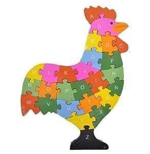 Puzzle Poulet Enfants ABC ou énumérés Jeu éducatif Puzzle d'apprentissage Bois Alphabet