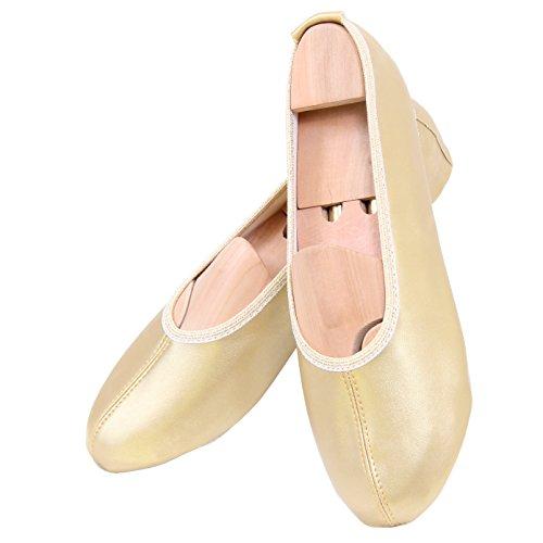 Gymnastikschuhe Ballettschuhe Turnschuhe Turnschläppchen Schläppchen Gr. 25-39 mit Glanz-Effekt Gold mit Glanz-Effekt