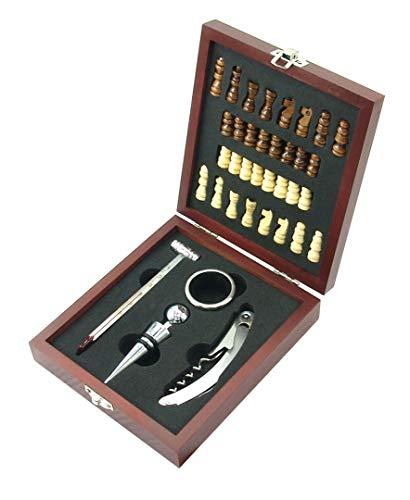 MK Wein- und Schach-Set Schachbrett und Wein-Zubehör in Geschenk-Box aus Holz inkl. Ausgiesser, Thermometer, Korkenzieher, Flaschenverschluss