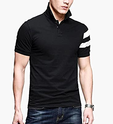 LionRoar Men's Black Collar Premium Polo T Shirts Half Sleeve Tshirts for Men