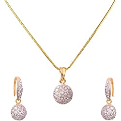 BFC- American Diamond Designer Ball Pendant Set with 18 inches Chain for Woman and Girls