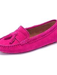 ZQ Zapatos de mujer-Tacón Plano-Comfort-Mocasines-Oficina y Trabajo / Vestido / Casual / Deporte-Ante-Rosa / Rojo...