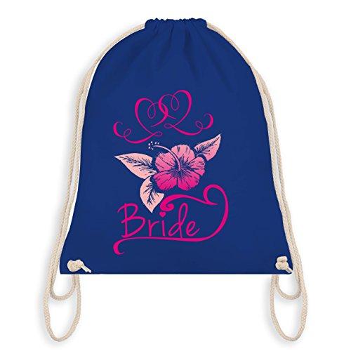 Turnbeutel Bag Junggesellinnenabschied Bride Blumen Royalblau pink I Gym JGA wqFIASzF