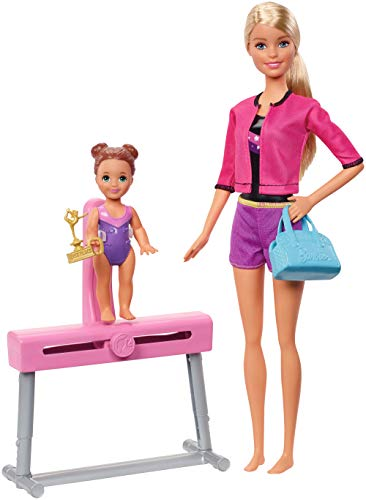 Barbie FXP39 - Berufe Turntrainerin mit blonden Haaren mit Schülerin und Zubehör, Sport Puppen Spielset ab 3 Jahren (Sport Barbie)