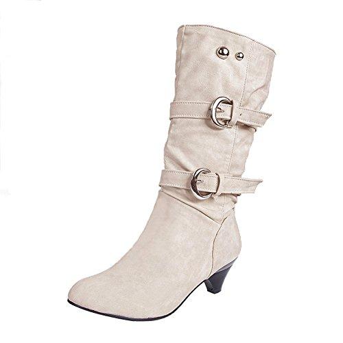 Minetom Miusoll Damen Elegant Stiefel Winterstiefel Mittlerer Absatz mit Schnalle Blockabsatz Schuhe Schenkelhoch Outdoor Stiefel Weiß EU 38 (Thong Knochen)