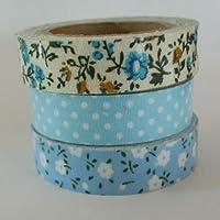 Colore: Blu con motivi floreali, colore: Blu a pois blu e fiore bianco-SET di 3 nastri adesivi decorativi in tessuto WASHI-fai-da-te con carta