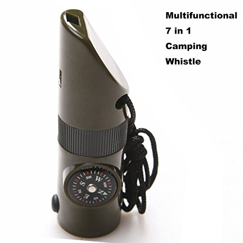 NNNKO 7 in 1 Camping Wandern Outdoor Whistle Multifunktionale Kompass Lupe LED Taschenlampe Thermometer für Notüberlebens Traveling Backpacking Jagd