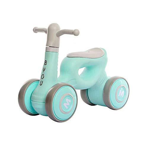 LJJY Bicicleta de Equilibrio para bebés, instalación Gratuita sin Pedal, 1-3 años, Andador, Bicicleta para bebés, 12 Pulgadas, para niños, Patinete de Cuatro Ruedas,Green