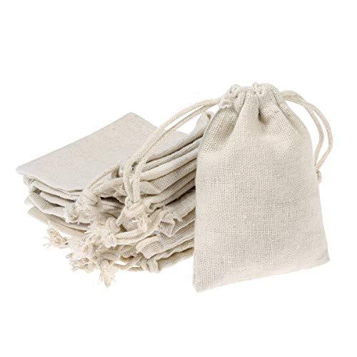 Healifty Kordelzug Tasche Baumwolle Beutel Geschenk Beutel Taschen Musselin Tasche Wiederverwendbare Teebeutel für Hochzeit Home Supplies 10 stücke
