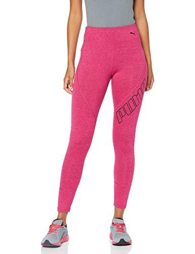 Fuchsia Leggings (Puma Damen Yogini Logo 7/8 Tight Leggings, Fuchsia Purple Heather, S)