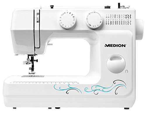 Medion MD 18205 - Máquina de coser de brazo, potencia de 62 W, 60 patrones, cose, ojal y enhebra, luz de costura LED, botón de retroceso, amplia gama de accesorios, color blanco