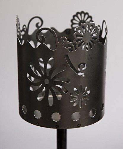 Metall-stab (Metall Fackel Blüten auf Stab 128 cm Beleuchtung Windlicht Gartenstecker Rost)