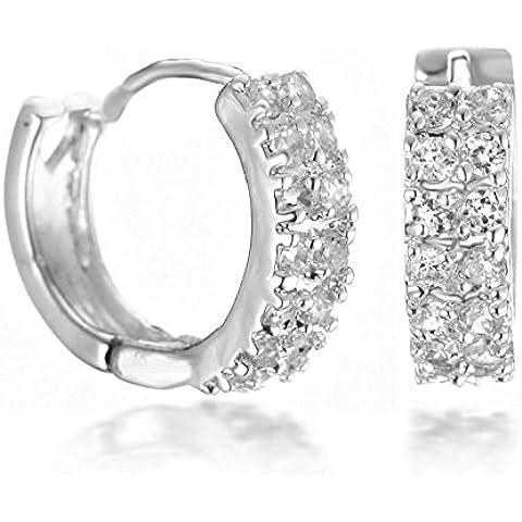 Gemini da donna platino placcato doppio canale set zirconi orecchini a cerchio San Valentino regali gm084