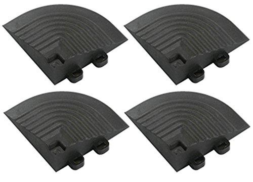 04 Fliesen (BodenMax® CN9011-04 Komplementäres Eckstück für Terrassenfliesen mit Verbindung von Öse für Fliesen Klick Farbe Schwarz (4 Stück))