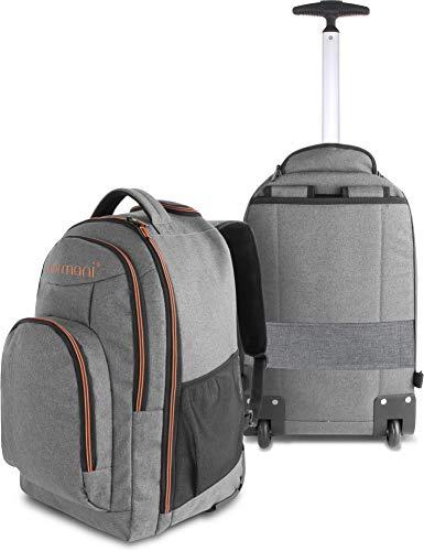 normani Rucksack mit Trolleyfunktion - 30 Liter Volumen Rucksacktrolley zum ziehen mit Laptopfach für Schule, Uni, Reisen, Ausflüge oder Einkaufen Farbe Orange