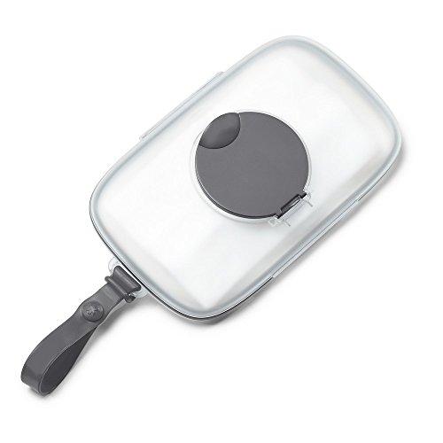 feuchttuchspender Skip Hop Grab und Go Feuchttücherbox, aus Silikon mit Klickverschluss, mit Silikondichtung, grau