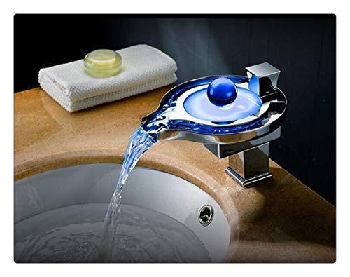 Rubinetto bagno lavabo rubinetto per cucina il miscelatore monocomando per lavabo a cascata a luce led moderna con rubinetto a cascata, cromato
