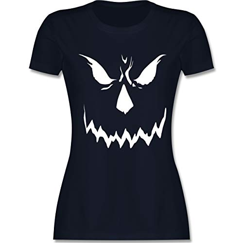 Halloween - Scary Smile Halloween Kostüm - S - Navy Blau - L191 - Damen T-Shirt Rundhals