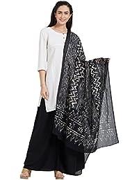 Dupatta Bazaar Woman's Cotton Black & Off White Block Printed Dupatta