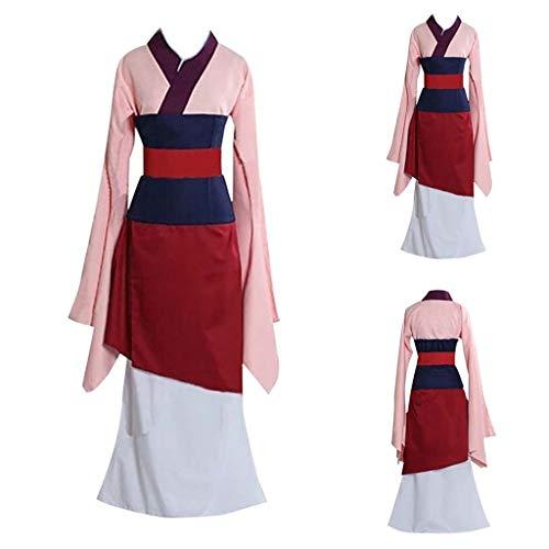 Kinlene Printing Sleeve Hoodies Sweatershirt Tops Mulan Prinzessin Kleid Cosplay Kostüm Chinesisches Damen Mulan Uniform Set 1 STÜCK Mantel + 1 STÜCK Rock + 1 STÜCK Gürtel + 1 STÜCK Kittel Bayern Tee-set