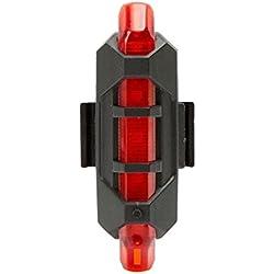FAMILIZO Nueva Bici 5 LED USB Recargable De La Cola De La Bicicleta De Advertencia Luz Trasera Posterior De La Seguridad (Rojo)