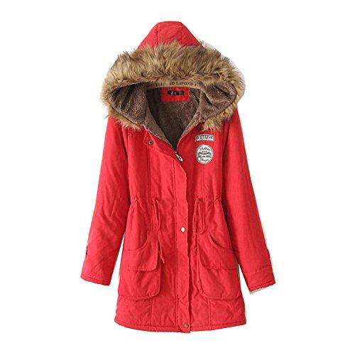 Gaorui Damen Winter Hoodie Fleece Jacke Wintermantel Kapuzenjacke Blau Schwarz Größe XL, 2XL,3XL Rot