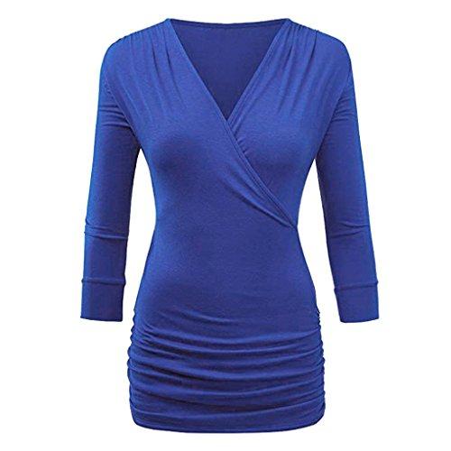Damen Blusen Ronamick Women Casual drei Viertel Solid Wrap Front Drape Top Bluse (Blau, XL)