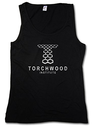 VINTAGE TORCHWOOD INSTITUTE LOGO DONNA CANOTTA TANK TOP - SciFi TV Series Doctor Who DONNA CANOTTA TANK TOP Taglie S - XL