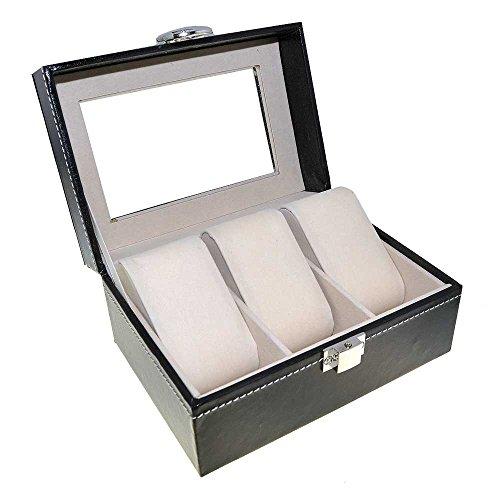 Orig. Meyer & Söhne Uhrenbox Leder für 3 Uhren Sammelbox Reisebox schwarz