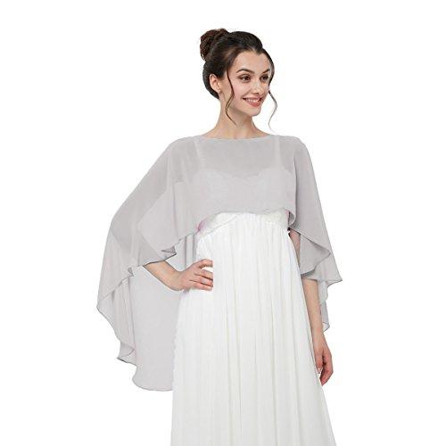 Cocogirls stola in chiffon per abiti in diversi colori, adatta a qualsiasi abito da sposa, da sera, da matrimonio, da gala o ricevimento argento taglia unica
