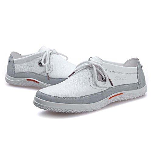 ZXCV Outdoor Schuhe Herrenschuhe bequeme wilde Freizeitschuhe Leder Spitzenschuhe Herrenschuhe Weiß