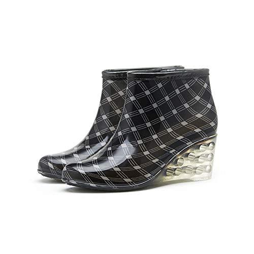 DaDago Spring Winter Design Ankle Boots Rain Zipper Leopard Shoe Woman Solid Rubber Waterproof Shoes - #03-36