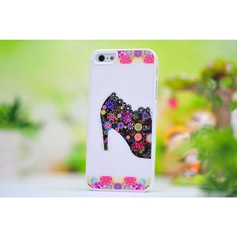 Flores zapatos de tacón alto la caja protectora de plástico para el iPhone 5.