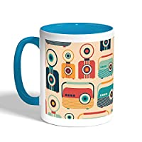 Printed Coffee Mug, Turquoise Color, Cameras