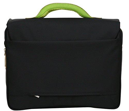 """Aktentasche - Weiche Schultertasche für die Arbeit - Geeignet für Laptops bis 15,6"""" - Grüne Details Grüne Details"""