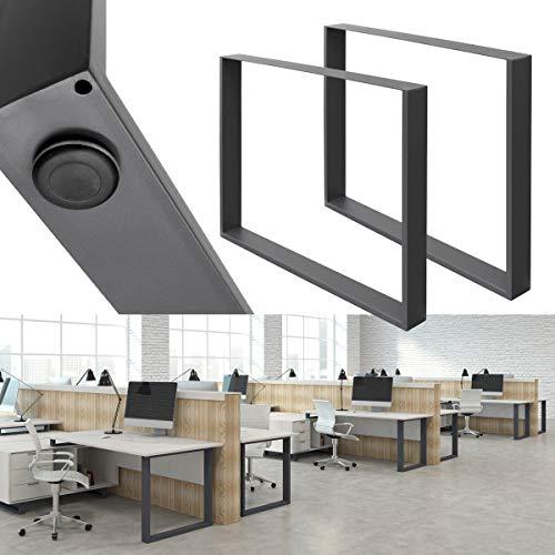 ECD Germany 2x Patas de mesa - hecho de acero - gris - 80 x 72 cm - diseño industrial - pies de mesa - juego de patas de mesa